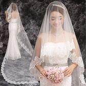 韓式婚紗頭紗婚禮新娘3米超長拖尾結婚白色短款蕾絲頭紗 伊衫風尚