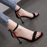高跟鞋 涼鞋女拼色露趾一字扣帶細跟法式少女高跟鞋百搭 夢藝家