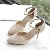2018新款中跟包頭涼鞋女夏鞋子百搭高跟鞋細跟一字扣5Cm夏季女鞋  韓風物語