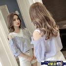 2021春夏新款韓版不規則假兩件露肩襯衫女設計感小眾打底短袖上衣 8號店