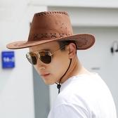 草帽 釣魚騎車男士牛仔帽度假夏沙灘大沿帽太陽防曬帽子男遮陽草帽戶外