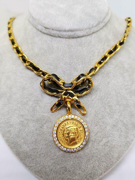 【雪曼國際精品】CHANEL 專櫃正品 Chanel 香奈兒 經典皮鍊金色項鍊~二手商品(8.5成新)現貨