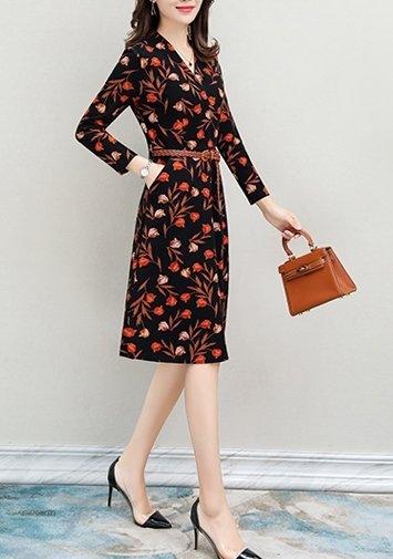 FINDSENSE品牌 秋季 新款 韓國原裝 女 氣質 V領  顯瘦 修身 鬆緊