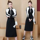 中大尺碼L-5XL中長款衛衣女薄款2019新款韓版長袖寬鬆外套潮過膝顯瘦連衣裙R031-9178