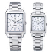 Olympia Star奧林比亞之星 經典時尚羅馬方型對錶-白/25+34mm