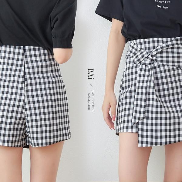 格紋綁結造型拉鍊短褲裙S-M號-BAi白媽媽【310749】