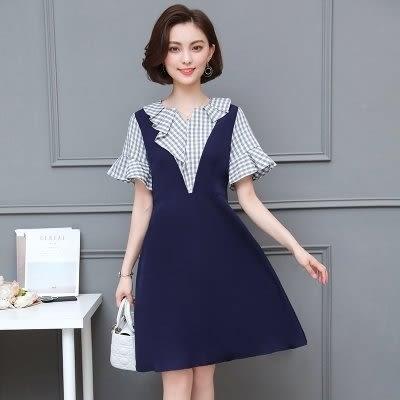 韓版收腰顯瘦洋裝小禮服L-5XL中大尺碼24060新款格子大碼胖妹妹仙女顯瘦遮肚子連衣裙愛尚布衣