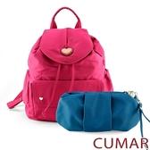 CUMAR 愛心logo防潑水尼龍水桶後背包-粉色(贈藍小包)
