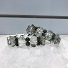 『晶鑽水晶』天然綠幽靈手鍊 手排 元寶型 強力招財 送禮物佳 男生手鍊 男生飾品
