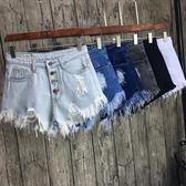 韓版高腰排扣破洞牛仔短褲女