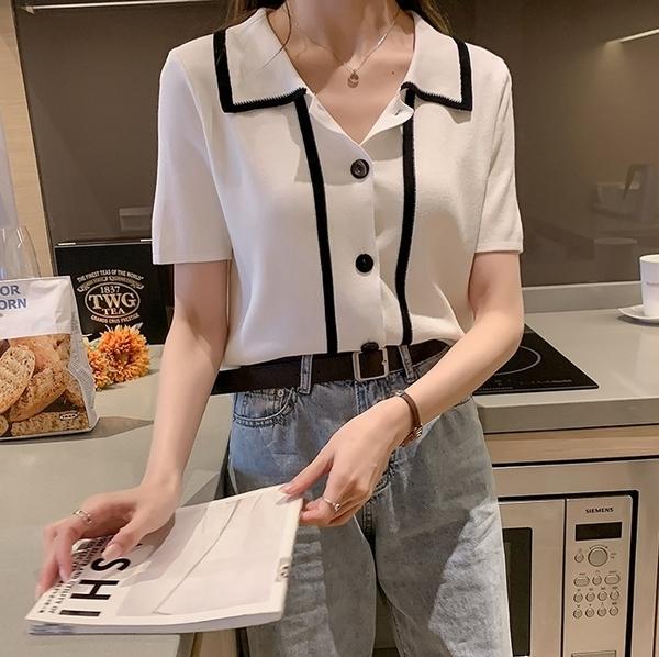 EASON SHOP(GQ0572)韓版黑白撞色小香風線條短版排釦POLO領翻領短袖針織衫T恤女上衣彈力貼身內搭衫