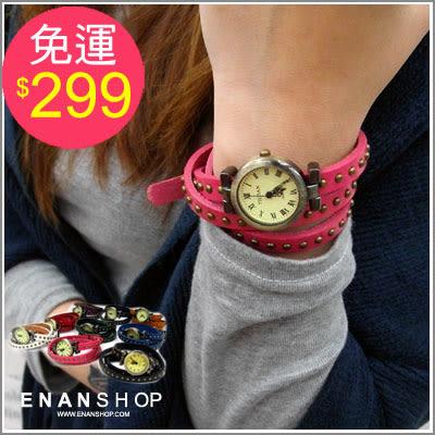手錶女錶男錶 惡南宅急店【0377F】真皮纏繞‧韓國帶回設計正韓貨復古鉚釘手錶 中性款