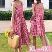 連身裙-XL-4XL大碼撞色格紋吊帶無袖傘擺裙中長款短款連身裙Kiwi Shop奇異果0712【SZZ9386】