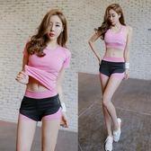 2018夏季新款韓國瑜伽服女專業運動套裝性感晨跑健身房跑步速幹衣 溫暖享家