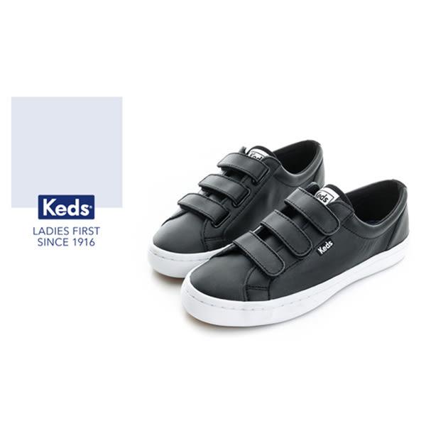 Keds 時尚運動系列START 運動魔鬼氈 皮質休閒鞋-黑 73W132212