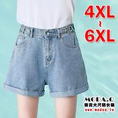 *MoDa.Q中大尺碼*【J0581】可調整腰圍鬆緊腰頭反摺牛仔短褲