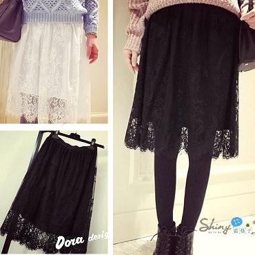 【T20438】shiny藍格子-飄逸美搭.甜美修身蕾絲鬆緊腰半身裙