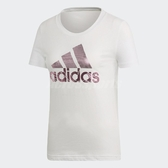 adidas T恤 Badge of Sport Foil Tee 女款 運動 T-Shirt 短袖 短T 上衣 白 粉 【ACS】 DV3033