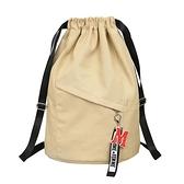 帆布束口袋健身大容量抽繩雙肩包學生書包女新款背包男旅行運動包 貝芙莉