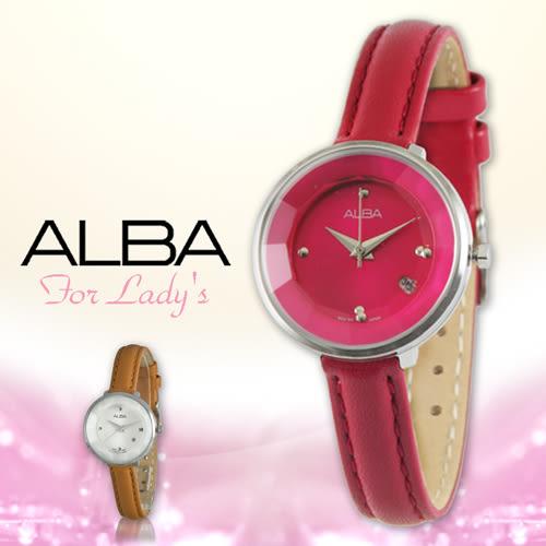 ALBA 雅柏 手錶專賣店 AH7B31X1甜美氣質腕錶 強化玻璃鏡面 真皮錶帶 不鏽鋼錶殼
