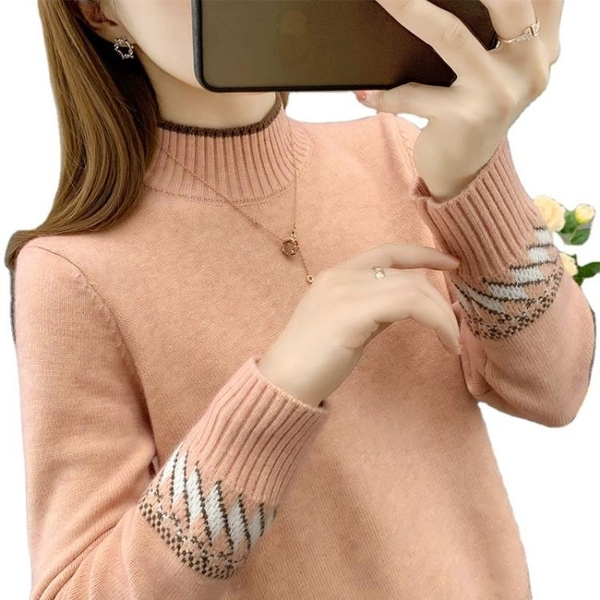 新品上市# 半高領毛衣女士寬松外穿秋冬新款爆款洋氣上衣內搭針織打底衫