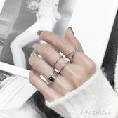 日韓版S925純銀戒指交叉光面立體開口指環簡約設計款銀戒子-Ifashion