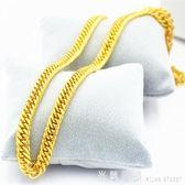 黃金色項錬 沙金首飾999越南黃金色馬鞭項錬男士粗久不掉色純金色飾品 米蘭街頭