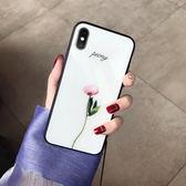 小清新綠葉 蘋果X玻璃殼iphone7plus/6S手機殼全包挂繩女款8p創意【全館免運八折下殺】