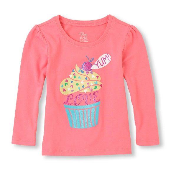 Place長袖上衣  彩色蛋糕圖案橘色長袖T恤