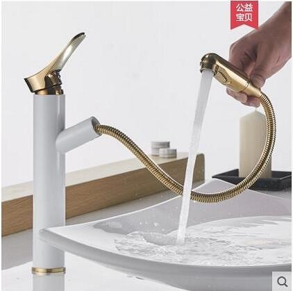 白加金加高款歐式全銅主體抽拉式冷熱面盆水龍頭洗手臉盆伸縮龍頭