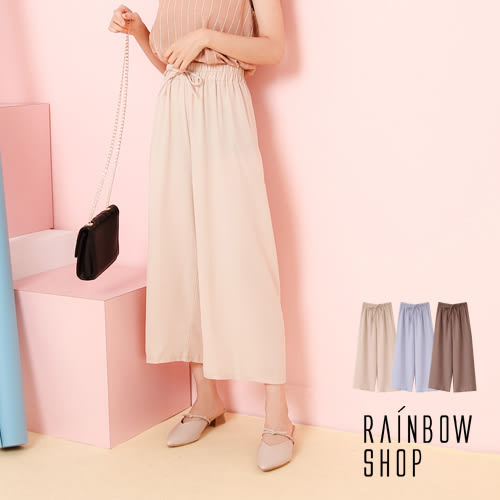 雪紡假綁帶腰鬆緊寬長褲-H-Rainbow【A08333】
