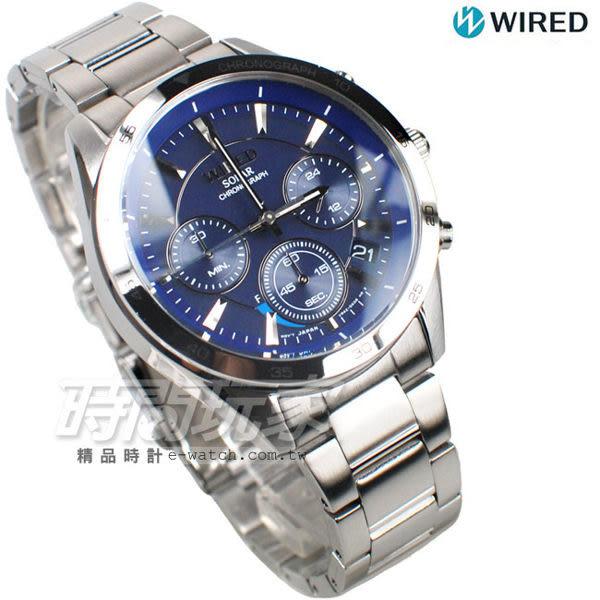 WIRED 視距儀錶盤 三眼計時腕錶 賽車錶 防水男錶 日期顯示窗 藍色 AY8027X1 VR42-0AB0B
