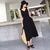 大韓訂製渡假長裙日系洋裝V領收腰吊帶裙韓連身裙免運