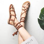 平底涼鞋 波西米亞民族仙女風海邊女交叉綁帶平底羅馬度假網紅ins涼鞋女潮 溫暖享家