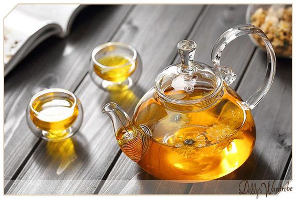 ☆Dolly生活館*╮防掉蓋手工耐熱玻璃泡茶高把仙人花茶壺/花茶壺/過濾壺 20865