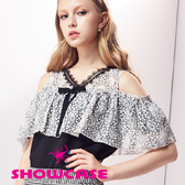 【SHOWCASE】蕾絲V領挖肩荷葉袖上衣(黑)
