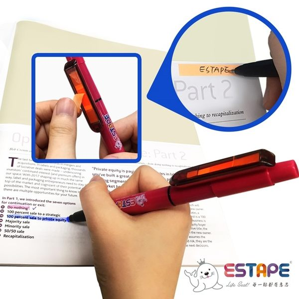 【ESTAPE】易撕貼桃紅三用筆(筆芯藍/螢光色頭綠)