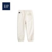 Gap女嬰兒Logo抽繩鬆緊腰束口褲499471-駝灰色