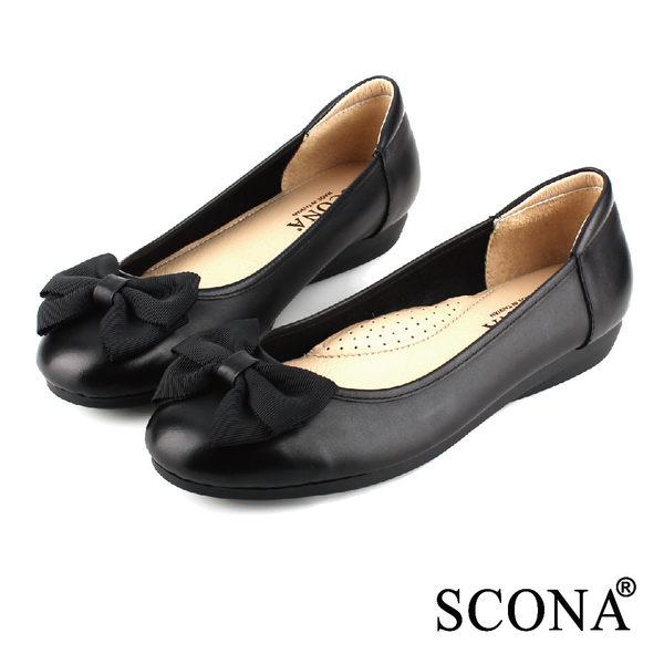 SCONA 全真皮 甜美舒適平底娃娃鞋 黑色 22401-1