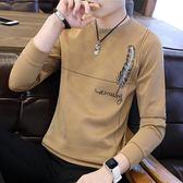 長袖t恤男士秋衣上衣打底衫青年春季圓領薄款修身潮流韓版衛衣男T 藍嵐