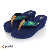 Paidal 熱帶花卉膨膨氣墊美型厚底夾腳拖鞋-深藍