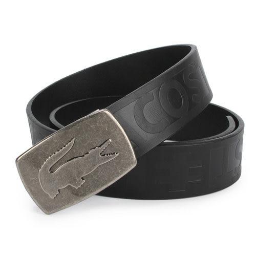 LACOSTE立體金屬鱷魚LOGO扣式皮帶(黑色)009023