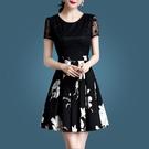時尚夏裝女洋裝/連衣裙2021新款春季收腰顯瘦網紗印花短袖碎花裙 快速出貨