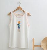T 恤女孩背包圖案棉質背心二色原單CALLING