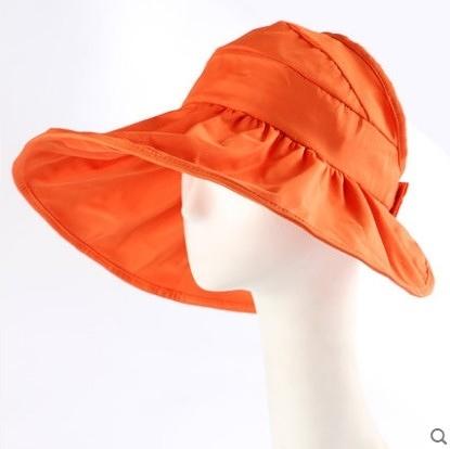 [協貿國際]韓國可折疊涼帽遮陽帽防曬帽子橘紅色
