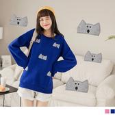 《AB8908-》保暖厚刷毛可愛貓咪貼布刺繡衛衣/上衣 OB嚴選