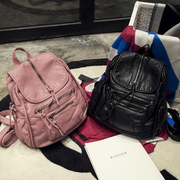 新款水洗皮後背包女韓版潮復古休閒旅行書包女多口袋百搭背包 至簡元素