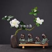 創意紫砂禪意小和尚茶寵擺件花插家居桌面根藝客廳裝飾品茶道配件 SUPER SALE 快速出貨