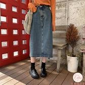 復古半身裙女夏高腰直筒顯瘦牛仔半身中長裙女【大碼百分百】