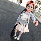 女童大學T裙新款童裝秋韓版洋氣連帽長袖女孩兒童寶寶上衣外套 居享優品